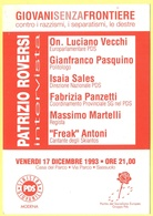 Tematica - Partiti Politici - PDS - 1993 - Sassuolo - GIOVANISENZAFRONTIERE, Contro I Razzismi, I Separatismi, Le Destre - Political Parties & Elections