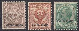 OLTRE GIUBA (occupazione Italiana) - 1925/1926 - Tre Valori Nuovi MH: Yvert 1/3. - Oltre Giuba