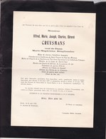 UCCLE ANVERS Alfred CRUYSMANS Veuf STINGGLHAMBER 1897-1956 Enterré Uccle Fabrique D'église St Job 2 Volets Complets - Overlijden