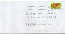 """2018- Tp Adhésif """" Emoji """" -- Coeurs  --seul Sur Lettre-------- - Marcophilie (Lettres)"""
