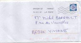 """2018- Tp Adhésif """" Flocon De Neige """" --   --seul Sur Lettre-------- - Marcophilie (Lettres)"""