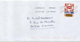 """2018- Tp Adhésif """" Voeux """" --BONNE ANNEE---timbre à Gratter   --seul Sur Lettre-------- - Marcophilie (Lettres)"""