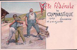 Lausanne, Fête Fédérale De Gymnastique 1909, Illustrateur F. Rouge (10975) Pli - VD Vaud