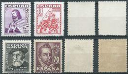 ESPAGNE SPANIEN SPAIN 1948 PERSONALITIES PERSONAJES SET 4V. MNH ED 1033-36 YV 775-78 MI 953-56 SG 1092-93+1104-05 SC 754 - 1931-50 Unused Stamps