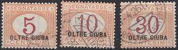 OLTRE GIUBA (occupazione Italiana) - 1925 - Tre Valori Segnatasse Usati: Yvert 1, 2 E 4. - Oltre Giuba