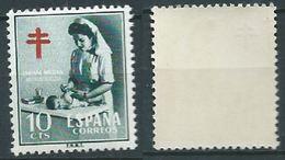 ESPAGNE SPANIEN SPAIN ESPAÑA 1953 NURSE AND CROSS OF LORENA 10 Cts GREEN MNH ED 1122 YV 839 MI ZW59 SG 1185 SC RA35 - 1931-Aujourd'hui: II. République - ....Juan Carlos I