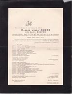 NAMUR BELGRADE Alice BOUVIER épouse Jules ANDRE 79 Ans 1953 Famille GREGOIRE DELCORDE Etc - Décès