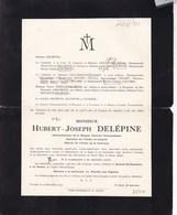 ANGRE TOURNAI Hubert DELEPINE Administrateur Banque Centrale Tournaisienne 1846-1933 Famille GENART DALLEMAGNE - Décès