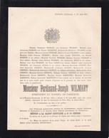 WANZOUL VINALMONT Ferdinand WILMART Président Du Conseil De Fabrique 1816-1891 BOLLY COURTOY DARTIENNE - Décès