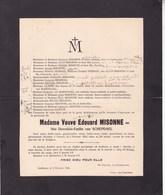 GODINNE NAMUR Dorothée Van SCHEPDAEL Veuve Edouard MISONNE 58 Ans 1924 Famille GILLY JUMET - Décès