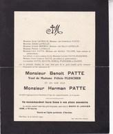 HARCHIES Accident Benoît PATTE Veuf FLESCHER Et Herman PATTE Son Fils 1933 Familles ZIANNE DORCQ - Overlijden