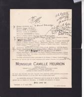 TARCIENNE GOURDINNE Camille HEURION Ingénieur Agricole 66 Ans 1928 Famille De CLIPPELE - Décès
