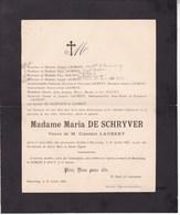 BEAURAING Maria DE SCHRYVER Veuve Constant LAURENT 1843-1923 Famille HOUYET - Décès