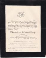 BERTREE POUCET Lez-HANNUT Zénon SENY Industriel 1816-1892 époux Florentine SNYERS Famille DELANGE - Décès
