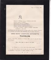 HUY Anne-Marie THYRION 1911-1920 Familles GREGOIRE DELLOYE ORBAN LORIERS - Décès