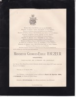 VERVIERS Georges-Emile HAUZEUR Industriel 71 Ans 1899 Famille Van Der MAESEN GRANDJEAN LEROY PELTZER DICKTUS - Overlijden