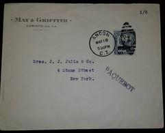O) 1914 CIRCA-NICARAGUA, PAQUEBOT -LIBERTY OVERPRINT AND SURCHARGE OFICIAL, FROM ANCON C.Z. MAY AND GRIFFFITH-CORINTO - Nicaragua
