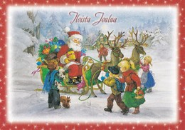 Santa Claus Is Sharing Christmas Presents With Reindeers Sleigh To The Children - Santa Claus