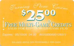 Turning Stone Casino - Verona NY - $25 Free Multi-Game Credits XX1 Issue (See Description For Details) - Cartes De Casino