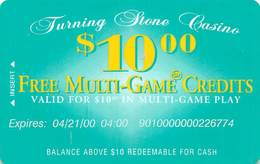 Turning Stone Casino - Verona NY - $10 Free Multi-Game Credits XX2 Issue (See Description For Details) - Cartes De Casino