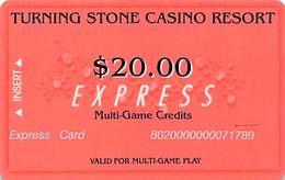 Turning Stone Casino - Verona NY - $20 Express Multi-Game Credits (XX9) No Phone# On Reverse - Cartes De Casino