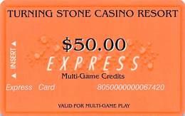 Turning Stone Casino - Verona NY - $50 Express Multi-Game Credits (XX9) No Phone# On Reverse - Cartes De Casino