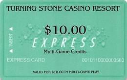 Turning Stone Casino - Verona NY - $10 Express Multi-Game Credits (XX10) Phone# On Reverse - Cartes De Casino