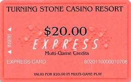 Turning Stone Casino - Verona NY - $20 Express Multi-Game Credits (XX10) Phone# On Reverse - Cartes De Casino