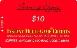 Turning Stone Casino - Verona NY - $10 Instant Multi-Game Credits - XX12 Issue Expires (See Description) - Cartes De Casino