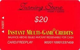 Turning Stone Casino - Verona NY - $20 Instant Multi-Game Credits - XX12 Issue Card/Freeplay (See Description) - Cartes De Casino