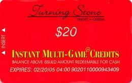 Turning Stone Casino - Verona NY - $20 Instant Multi-Game Credits - XX12 Issue Expires (See Description) - Cartes De Casino