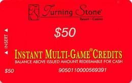 Turning Stone Casino - Verona NY - $50 Instant Multi-Game Credits - XX15 Issue (See Description) - Casino Cards