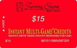Turning Stone Casino - Verona NY - $15 Instant Multi-Game Credits - XX16 Issue (See Description) - Casino Cards