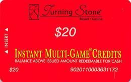 Turning Stone Casino - Verona NY - $20 Instant Multi-Game Credits - XX16 Issue (See Description) - Casino Cards