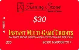Turning Stone Casino - Verona NY - $30 Instant Multi-Game Credits - XX16 Issue (See Description) - Casino Cards