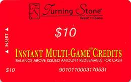 Turning Stone Casino - Verona NY - $10 Instant Multi-Game Credits - XX17 Issue (See Description) - Casino Cards