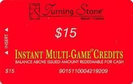 Turning Stone Casino - Verona NY - $15 Instant Multi-Game Credits - XX17 Issue (See Description) - Casino Cards