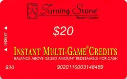 Turning Stone Casino - Verona NY - $20 Instant Multi-Game Credits - XX17 Issue (See Description) - Casino Cards