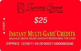 Turning Stone Casino - Verona NY - $25 Instant Multi-Game Credits - XX17 Issue (See Description) - Casino Cards