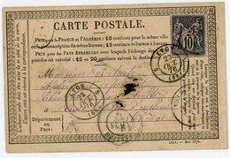 RHONE CPP 1878 ECRITE A DECINES POSTEE A VILLEURBANNE + BM DATEE DE DECINES => OULLINS - Marcophilie (Lettres)