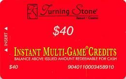 Turning Stone Casino - Verona NY - $40 Instant Multi-Game Credits - XX17 Issue (See Description) - Casino Cards