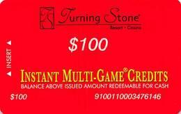 Turning Stone Casino - Verona NY - $100 Instant Multi-Game Credits - XX17 Issue (See Description) - Casino Cards