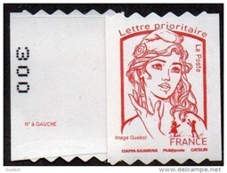 France Autoadhésif N° 1256.** Marianne De Ciappa Et Kawena. Roulette Prioritaire Sans Le Grammage, Verso à Gauche (PRO) - France