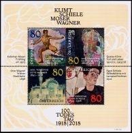 Austria Österreich 2018 100. Todestage Von Gustav Klimt, Egon Schiele, Koloman Moser Und Otto WagneUSED / O / GESTEMPELT - 1945-.... 2. Republik