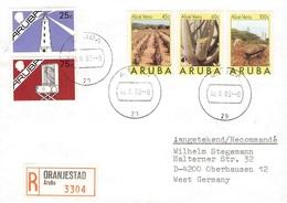 ARUBA  - REGISTERED MAIL 1989 ORANJESTAD -> OBERHAUSEN/GERMANY Mi #37-39, 25, 28 - Niederländische Antillen, Curaçao, Aruba
