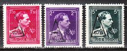 724N/P**  Leopold III Col Ouvert Surchargé -10% - MONT SUR MARCHIENNE - Série Complète - MNH** - LOOK!!!! - 1946 -10%