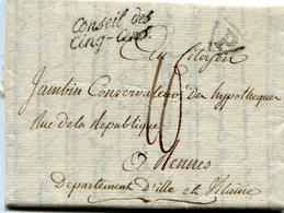 PARIS LAC Du 10/06/1798 Marque Senechal N°896 Conseil Des Cinq Cens Et Taxe De 10 Pour RENNES - Marcophilie (Lettres)