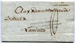 LYON Linéaire VILLE AFFRANCHIE+ Marque Commission Temporaire De Surveillance De Ville Affranchie Taxée 10 Pour LUNEVILLE - Marcophilie (Lettres)