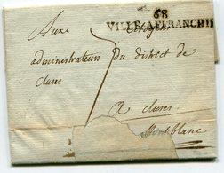 LYON Linéaire VILLE AFFRANCHIE Sur LAC Du 10/10/1794 Taxée 7 Pour CLUSES - Marcophilie (Lettres)