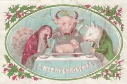 Christmas  Card  Christas Animals Having A Man For Lunch Faults    Egc190 - Old Paper
